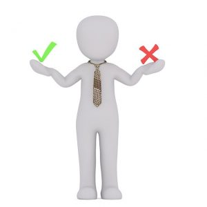 Man holding Plus and Minus Divorce Appraisal Symbols in Each Hand