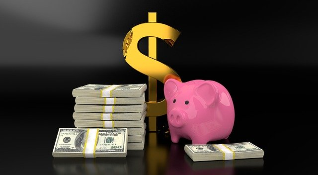 Piggy Bank with Money Pile